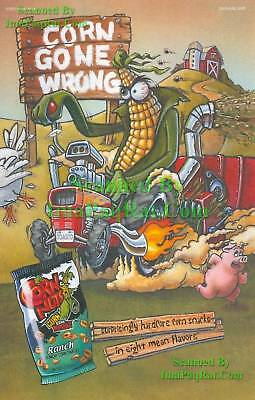 CornNuts ☆ Ranch ☆ Corn Gone Wrong ☆ Evil Farmer Souped Up Tractor ☆ Print Ad!
