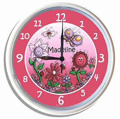 PERSONALISED Wall Clock BUTTERFLY GARDEN pink border 25