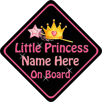 Personalised Child/Baby On Board Car Sign Princess B&P