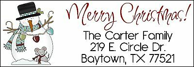 ~MERRY CHRISTMAS Snowman w/Mouse~ Lazer Address Labels