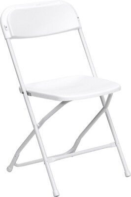 Lot of 100 White Steel Frame Folding Chairs with 800 lb Capacity