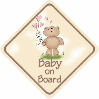 Teddy Bear Baby on Board Car Sign ~ Girl Bear 2 Non Per