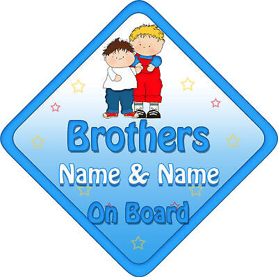 Personalised Baby On Board Car Sign Brothers New! B&R