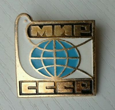 """""""PEACE - USSR"""" - Russian Soviet pin with Dove / Pigeon"""