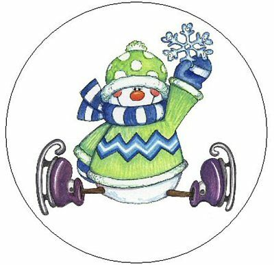 "~SNOWMAN ICE SKATING~ 1"" Sticker / Seal Labels!"