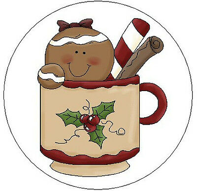 "~GINGERBREAD GIRL IN CUP~ 1"" Sticker / Seal Labels!"