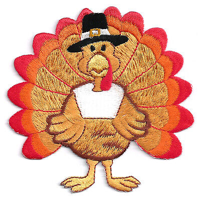 """Turkey - Thanksgiving - Fully Embroidered Iron On Applique Patch ~   3  7/8"""""""
