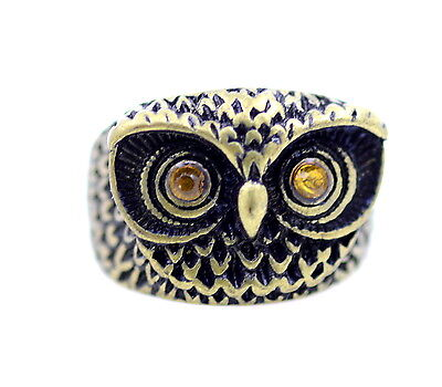 Vintage Style Black Eye Silver Owl Feather Ring Size N