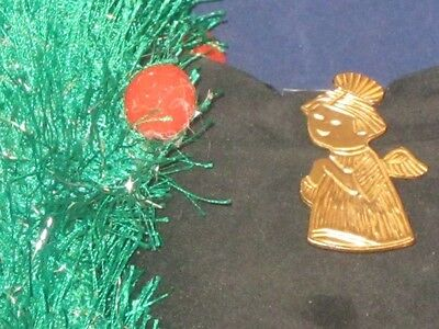 ENGRAVED GOLDTONE ANGEL CHRISTMAS PIN ON BLUE CARD!