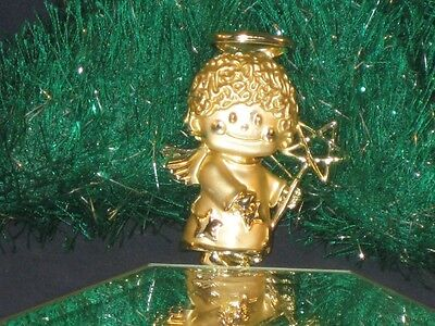 GOLDTONE CHRISTMAS ANGEL PIN BRIGHT AND BUFFED AND CUTE