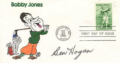 BEN HOGAN: Bobby Jones First Day Cover Autographed