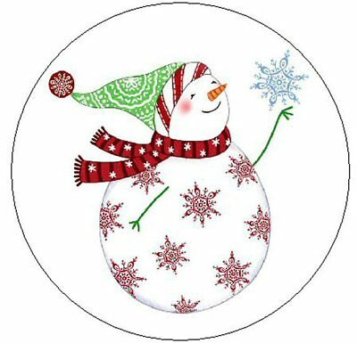 "~SNOWMAN WITH SNOWFLAKE~ 1"" Sticker / Seal Labels!"
