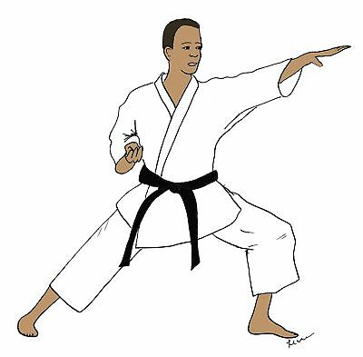 Karate man note cards envelopes African American