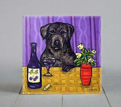 Black Labrador retriever at the wine bar dog art tile  coaster gift artwork