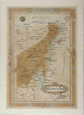 Antique style  QUINTANA ROO MAP
