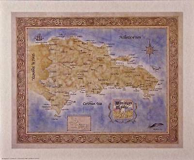 Antique style DOMINICAN REPUBLIC MAP