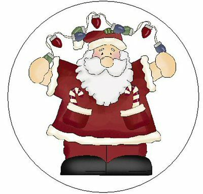 "~SANTA W/CHRISTMAS LIGHTS~ 1"" Sticker / Seal Labels!"