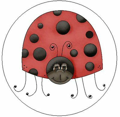 "~CUTE RED & BLACK LADYBUG~  1"" Sticker / Seal Labels!"