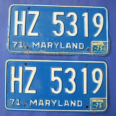 1975 Maryland License Plates Matched Pair