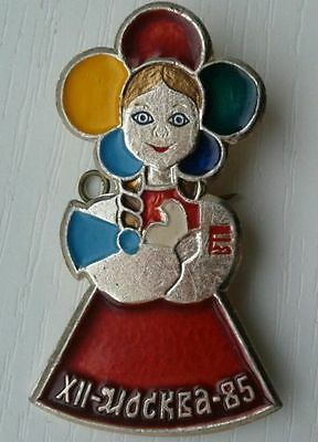 1985 Moscow Student Festival - girl woman w. dove of peace - Russian Soviet pin