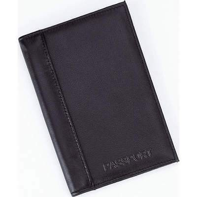 NEW BLACK Genuine LEATHER PASSPORT HOLDER COVER WALLET