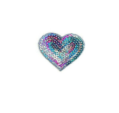Heart - Valentines Day - Love - Sequin Mulit Colored Iron On Applique Patch