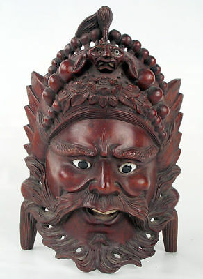 WELL CARVED CHINESE WOOD MASK INLAID EYES c1850