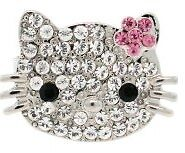 Hello Kitty Face Head Daisy Flower Crystal Pave Adjustable Ring Band More Colors