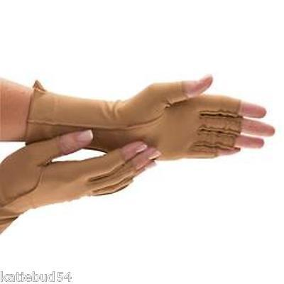 Isotoner Open Finger Therapeutic Support Compression Gloves Adult Tan