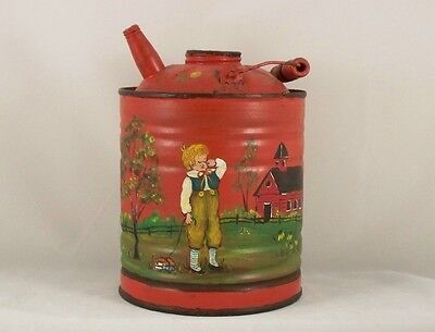 Antique Red Gas Can With Handpainted Drawing