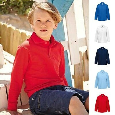 Kinder Kids Kind Poloshirt Polo Shirt Langarm Polohemd 65/35 Fruit of the loom