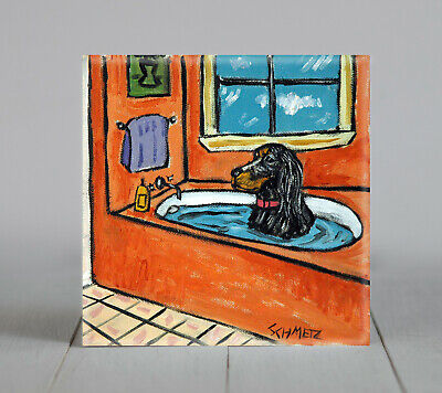 GORDON SETTER taking a bath DOG ART TILE COASTER gift artwork