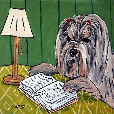 LHASA APSO reading a book dog art tile coaster gift