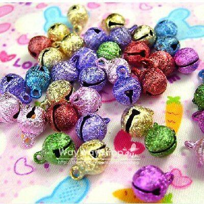 100 X Huge Assorted Color 8mm Jingle Bell Charms craft