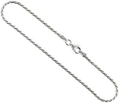 1.5mm Sterling Silver Diamond-Cut Rope Chain 925 Italy