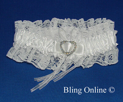 Sexy White Satin & Lace Bridal Brides Wedding Garter With Heart Crystal Charm