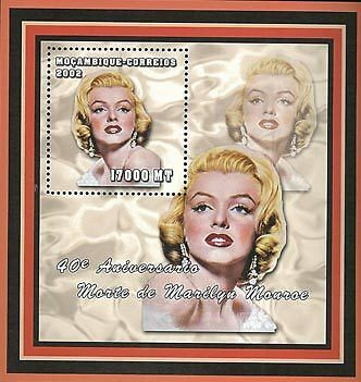 Mozambique 2002 Stamp, Marilyn Monroe, Actress S/S 4