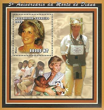 Mozambique 2002 Stamp, Diana, Important People S/S