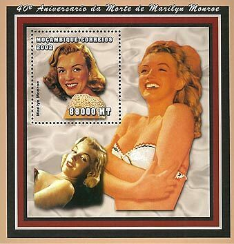 Mozambique 2002 Stamp, Marilyn Monroe, Actress S/S