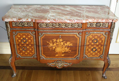 Magnificent 19C French Marquetry Inlaid Marble Top Commode