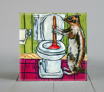 SQUIRREL plunging a toilet bar art tile coaster
