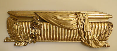 Magnificent 19C French Wooden Hand Carved  Gold Leaf Decoration Wall Plaque