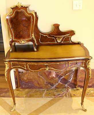 MAGNIFICENT 19th C FRENCH DORE BRONZE , COMMODE TOP,  DESK WITH 3 DRAWERS