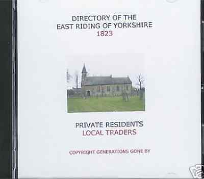 Genealogy Directory Of East Riding (Yorkshire) 1823 Cd