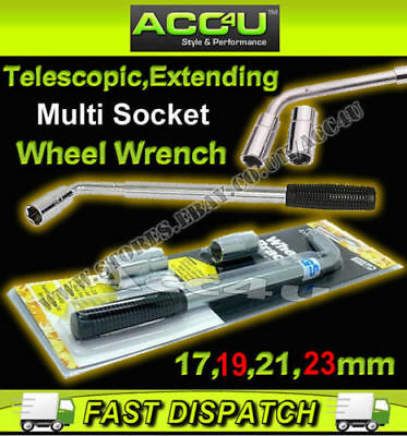 Car Van Telescopic Extending 17mm 19mm 21mm 23mm Multi Socket Wheel Wrench Brace