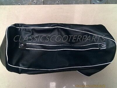 Vespa Black long bench dual seat saddle WHITE trim COVER VBC VLB GL V8184