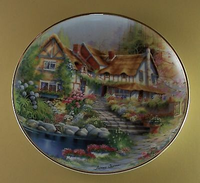 COBBLESTONE COTTAGE Plate Floral Flowers Lovely MIB