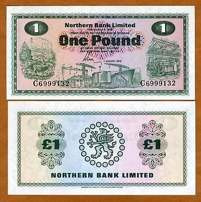 Ireland Northern Bank, 1 pound, 1978 P-187 UNC   Scarce