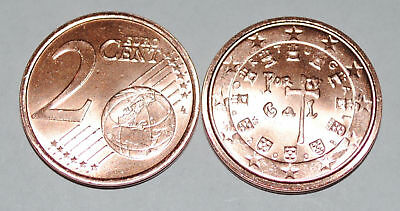 2008 Portugal 2 Cent Coin Unc from mint bag BU Nice KM# 741