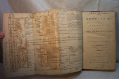 rare ANTIQUE OLD ELEMENTS OF MEDICINE BOOK 1791 BRUNONI
